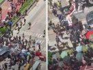รถยนพุ่งชนฝูงม็อบที่ปิดกั้นถนน – กลุ่มชายฉกรรจ์ปะทะม็อบเจ็บ 45 ราย